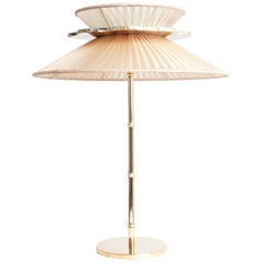 Daisy Contemporary Table Lamp Gold Silk Glass Silvered Necklace, Brass Sale