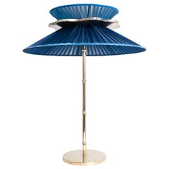 Daisy Contemporary Table Lamp Sapphire Silk Glass Silvered Necklace, Brass Sale
