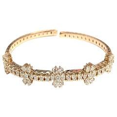 Daisy Diamond Bangle in 18 Karat Rose Gold