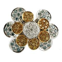 Daisy Fancy Diamond Gold Ring