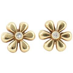 Daisy Flower Diamond Gold Earrings