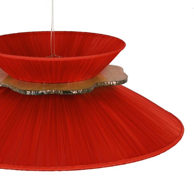 Modern Daisy Hanging Lamp in Rust Silk and Silvered Neacklace Glass Handmade For Sale