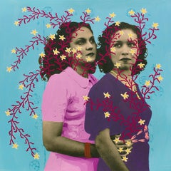 Untitled (Sisters with Yellow Flowers and Magenta Vine)