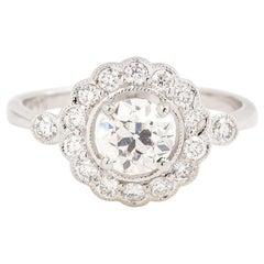 Daisy Shape 1.12 Carat Diamond 18 carat White Gold Engagement Ring