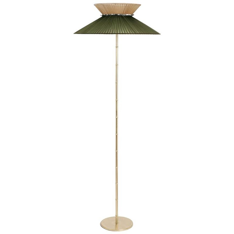 """""""Daisy"""" contemporary Standing Lamp Brass, Silk, Silvered Glass clover For Sale"""