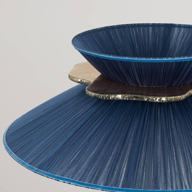 Italian Daisy Standing Lamp in Brass, Sapphire Silk Silvered Glass Necklace Handmade For Sale