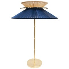 Daisy Table Lamp Blue-Gold Silk Silvered Glass Necklace, Bamboo-Brass Stem