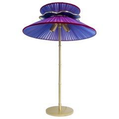 Daisy Table Lamp in Brass, Amethyst Silk and Silvered necklace Glass Handmade