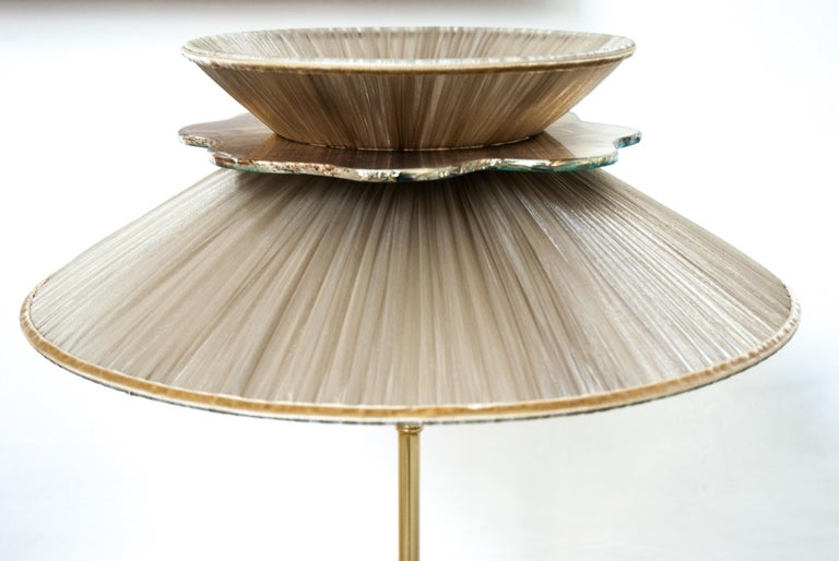 Daisy Table Lamp in Brass, tobacco Silk and silvered nacklace Glass Handmade    For Sale 3