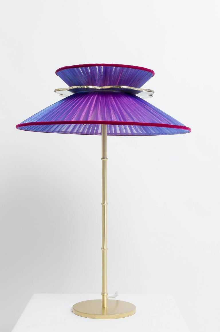 Daisy Table Lamp in Brass, Amethyst Silk and Silvered Necklace Glass Handmade For Sale 1