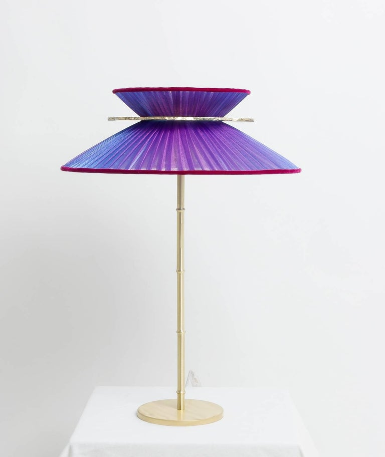Daisy Table Lamp in Brass, Amethyst Silk and Silvered Necklace Glass Handmade For Sale 2