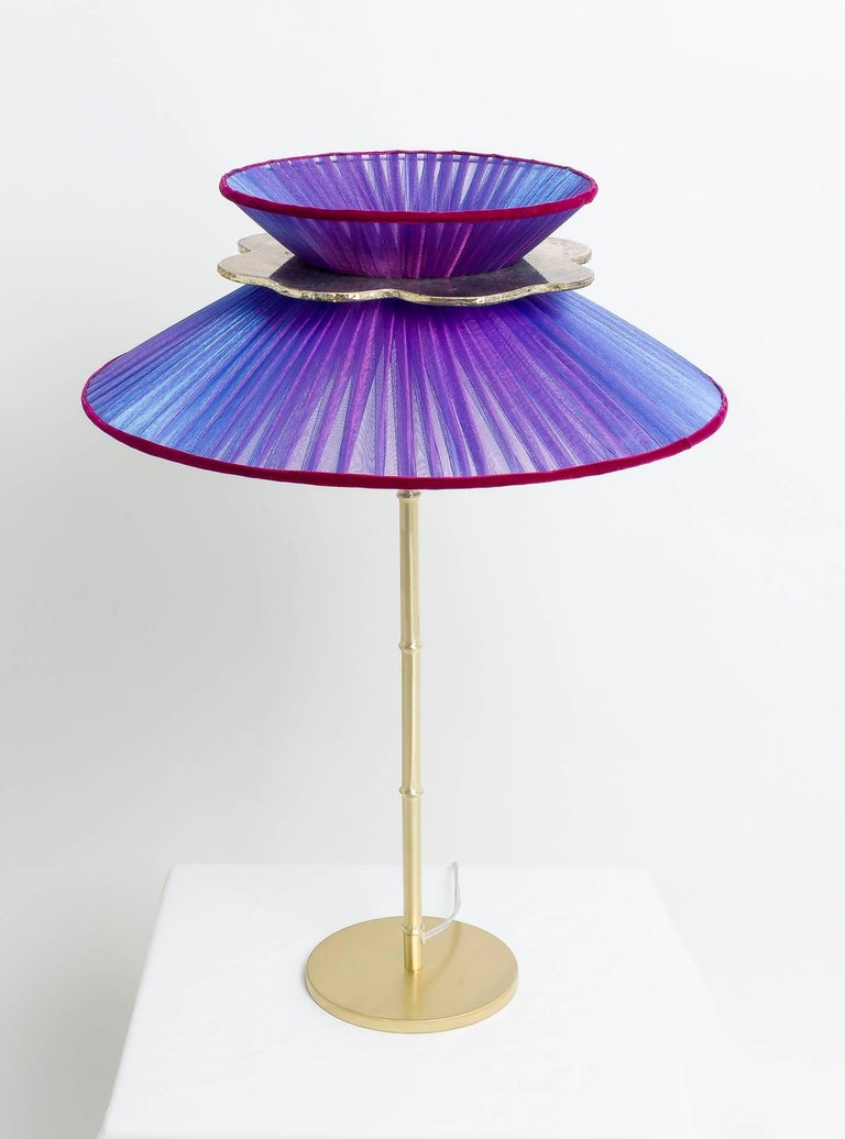 Daisy Table Lamp in Brass, Amethyst Silk and Silvered Necklace Glass Handmade For Sale 4