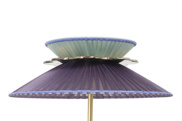 Modern Daisy Table Lamp in Satin Brass Violet-Mint Silk Lampshade Silver Glass Necklace For Sale