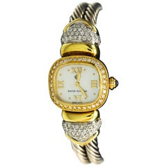 Daivd Yurman 18 Karat Yellow Gold,and sterling silver diamond watch