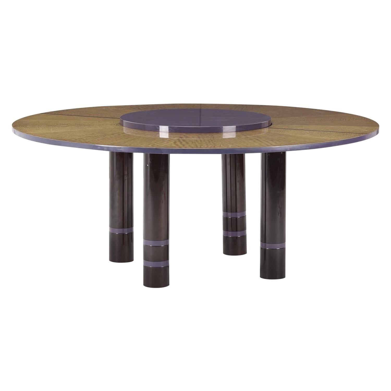 Dakota Jackson African Satinwood Postmodern Convertible Lazy-Susan Dining Table