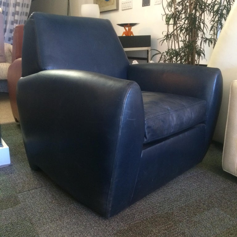 Dakota Jackson Leather Swivel Chair In Good Condition For Sale In Los Angeles, CA