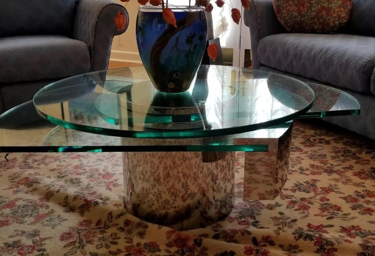 American Post-Modern Dakota Jackson Self-Winding Coffee Table Chrome 1978 Uncut Gems film For Sale