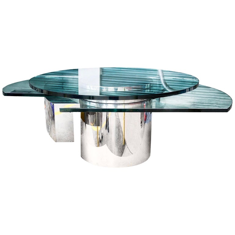 "Dakota Jackson ""Self-Winding Coffee Table"" in Chrome, 1978 For Sale"