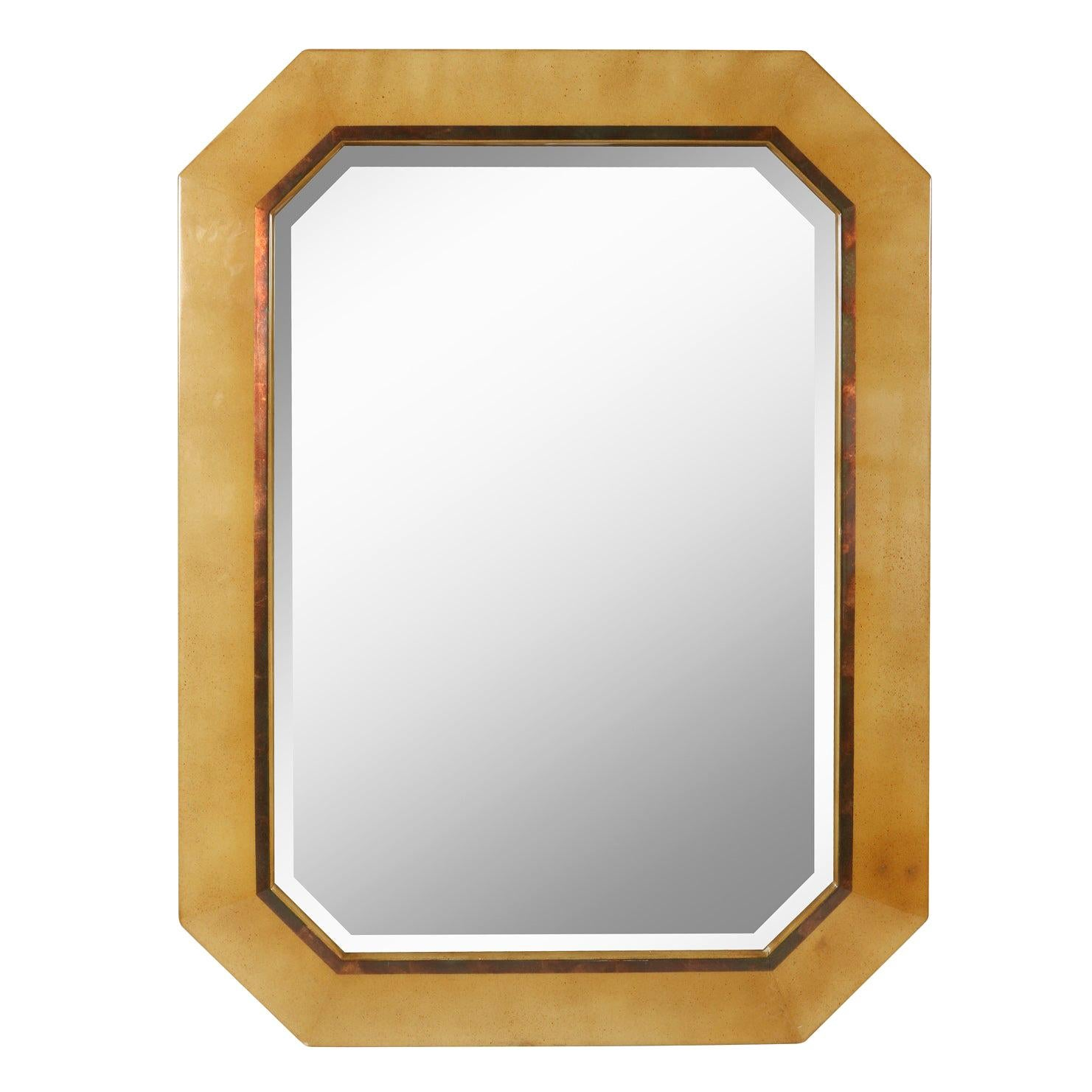 Dakota Jackson Vintage Goatskin Octagonal Mirror