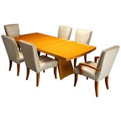 Dakota Jackson 'Wonder' Exotic Wood Dining Table with Six 'Puff' Chairs, Signed
