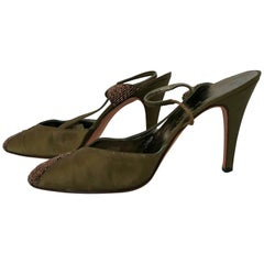 Dal Co' x Valentino Green/Light-Brown Silk and Brillants Heels. Size 8 (US)