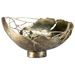 "Dal Furlo ""Large Bark Bowl"" Cylindrical Modern Brass Bowl"