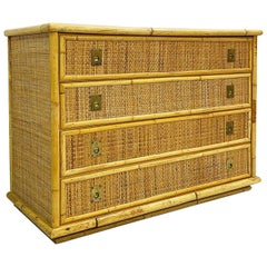 Dal Vera Bamboo and Wicker/Rattan Chest of Drawers, Italy, 1960s