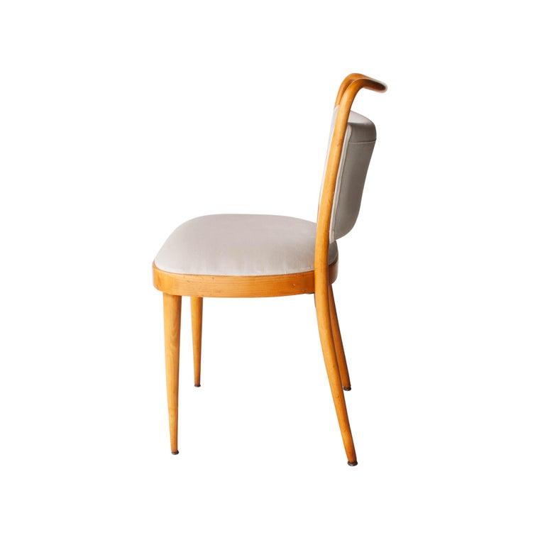 Italian Dal Vera Conegliano Midcentury Grey Oak Set of Six Chairs, Italy, 1950 For Sale