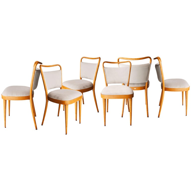Dal Vera Conegliano Midcentury Grey Oak Set of Six Chairs, Italy, 1950 For Sale