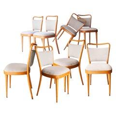 Dal Vera Conegliano Midcentury Grey Oak Set of Twelve Chairs, Italy, 1950
