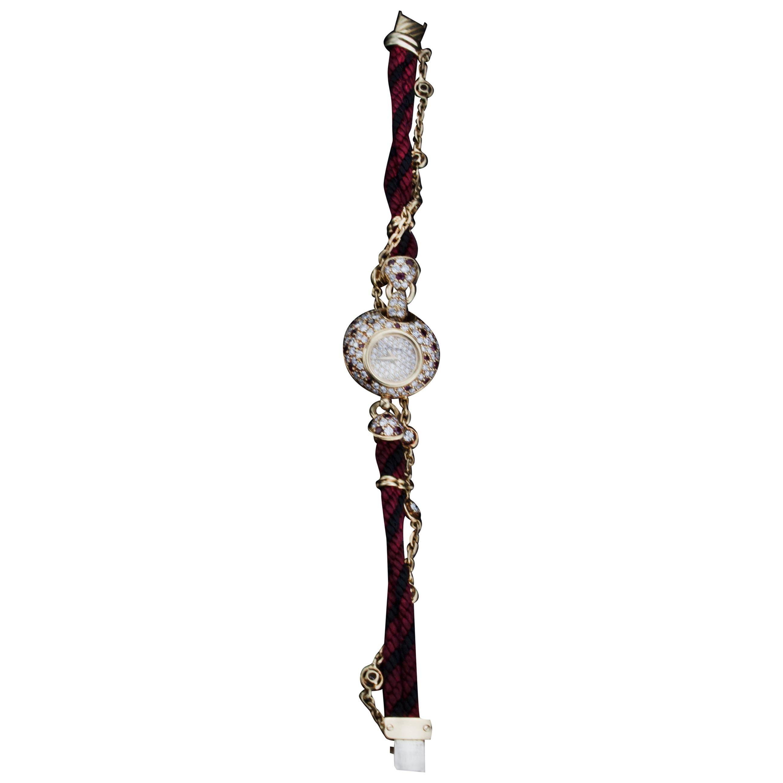 Dalaneau 18 Karat Gold Ladies Bracelet Watch with Diamonds and Rubies, 1980s