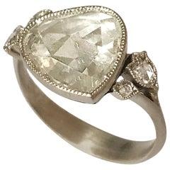 Dalben 1.84 Carat Pear Shape Rose Cut Diamond Gold Ring