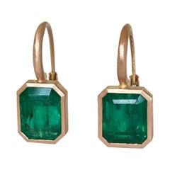Dalben 5,4 Carat Deep Green Emerald Rose Gold Earrings