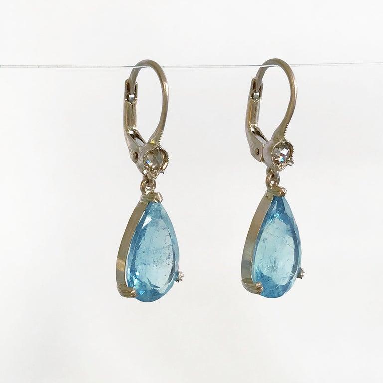 Women's Dalben Aquamarine Light Brown Diamond Gold Earrings For Sale