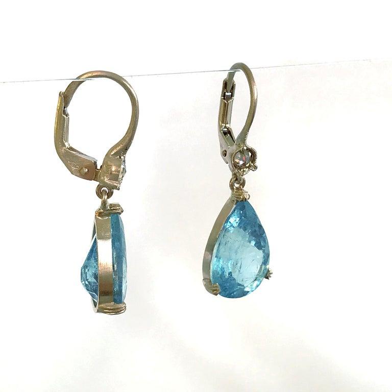 Dalben Aquamarine Light Brown Diamond Gold Earrings For Sale 1