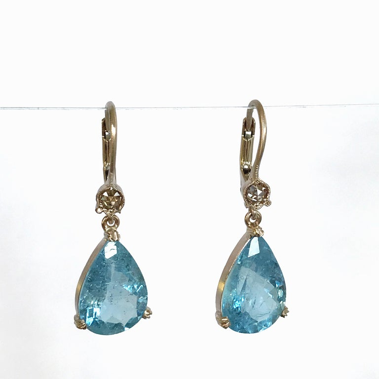 Dalben Aquamarine Light Brown Diamond Gold Earrings For Sale 2