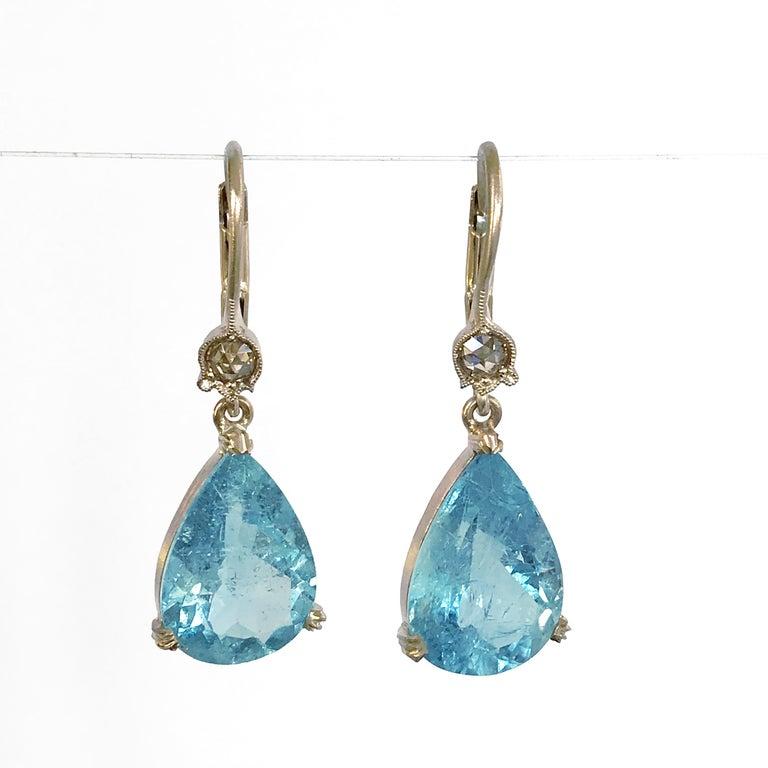 Dalben Aquamarine Light Brown Diamond Gold Earrings For Sale 3