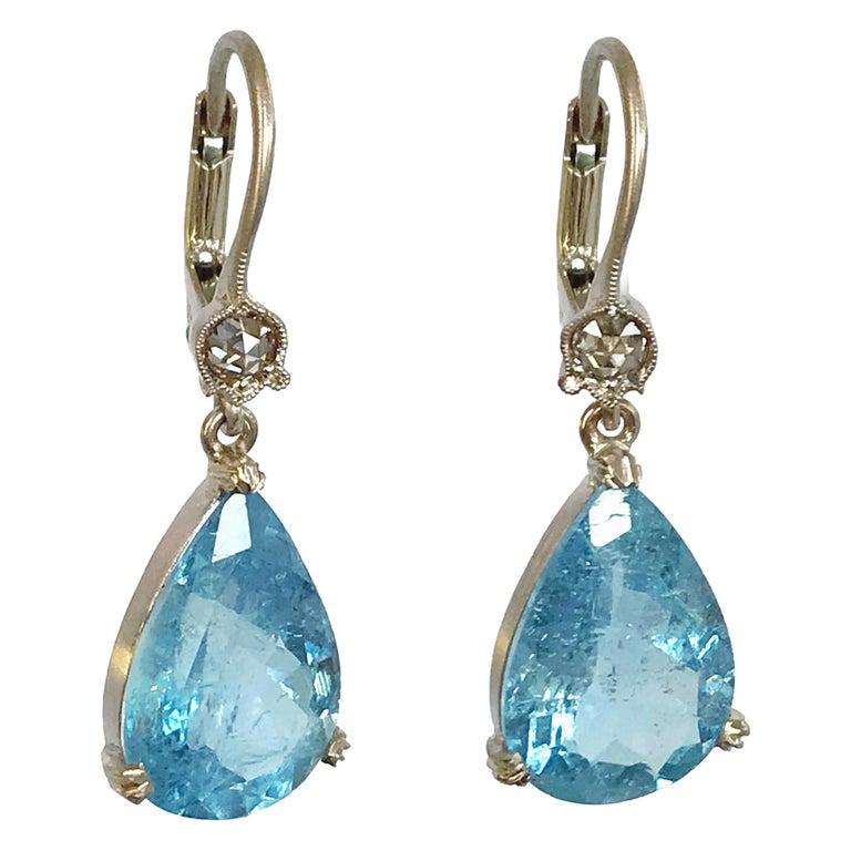 Dalben Aquamarine Light Brown Diamond Gold Earrings For Sale