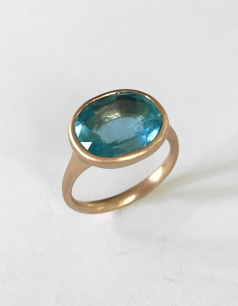 Dalben Aquamarine Rose Gold Ring In New Condition For Sale In Como, IT
