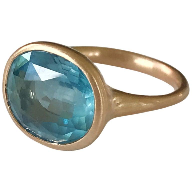 Dalben Aquamarine Rose Gold Ring For Sale