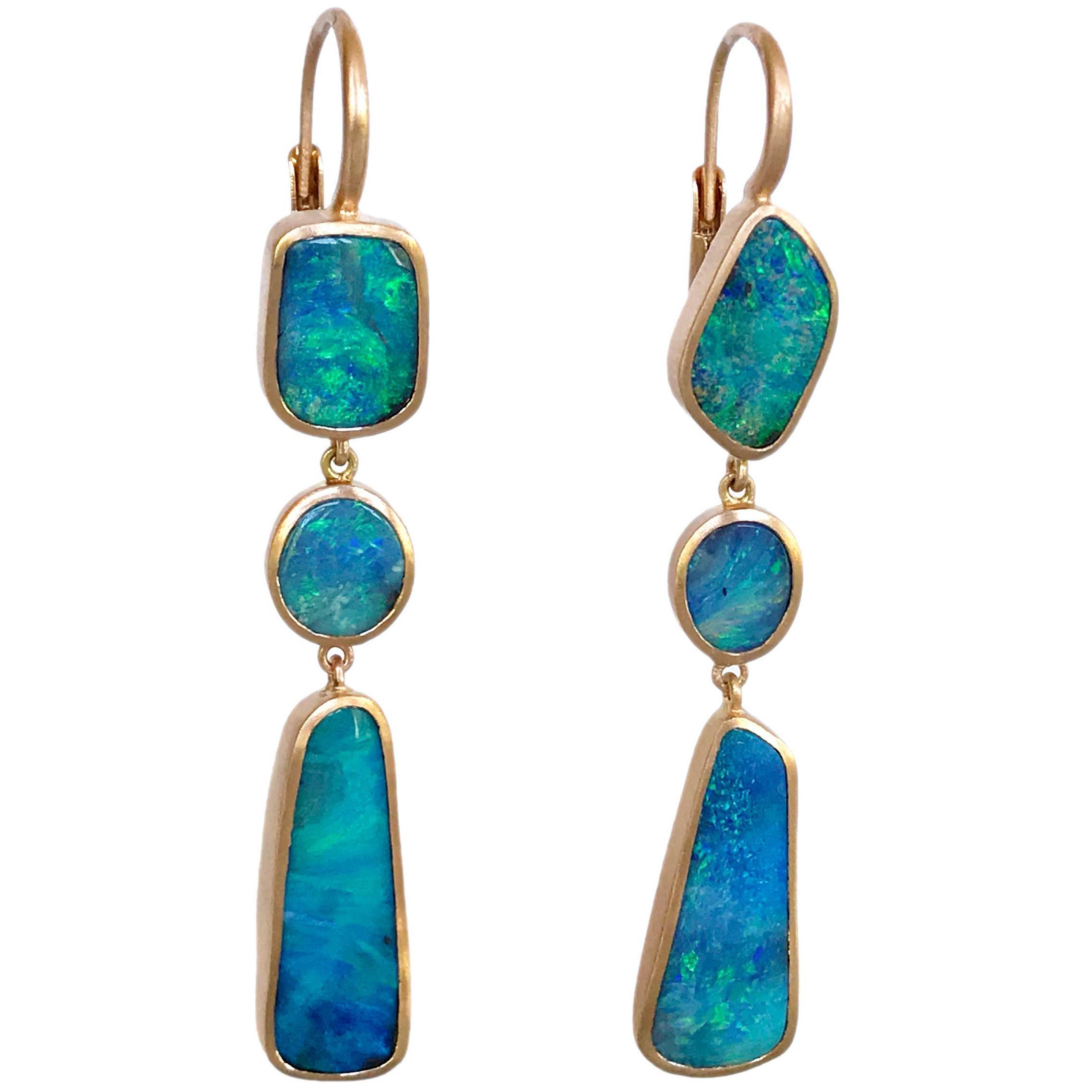 Dalben Australian Boulder Opal Light Blue Rose Gold Dangle Earrings