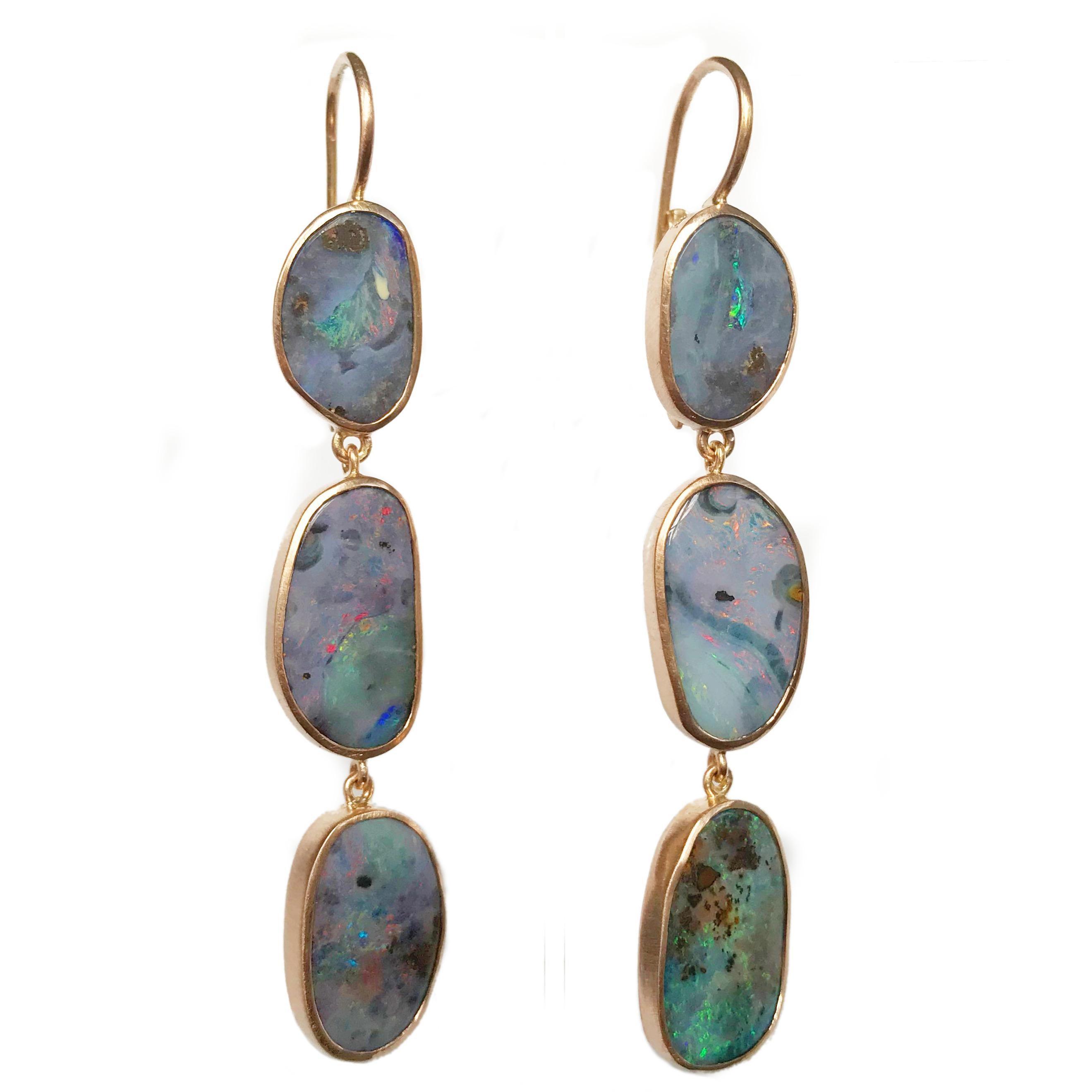 Dalben Australian Boulder Opal Rose Gold Dangle Earrings