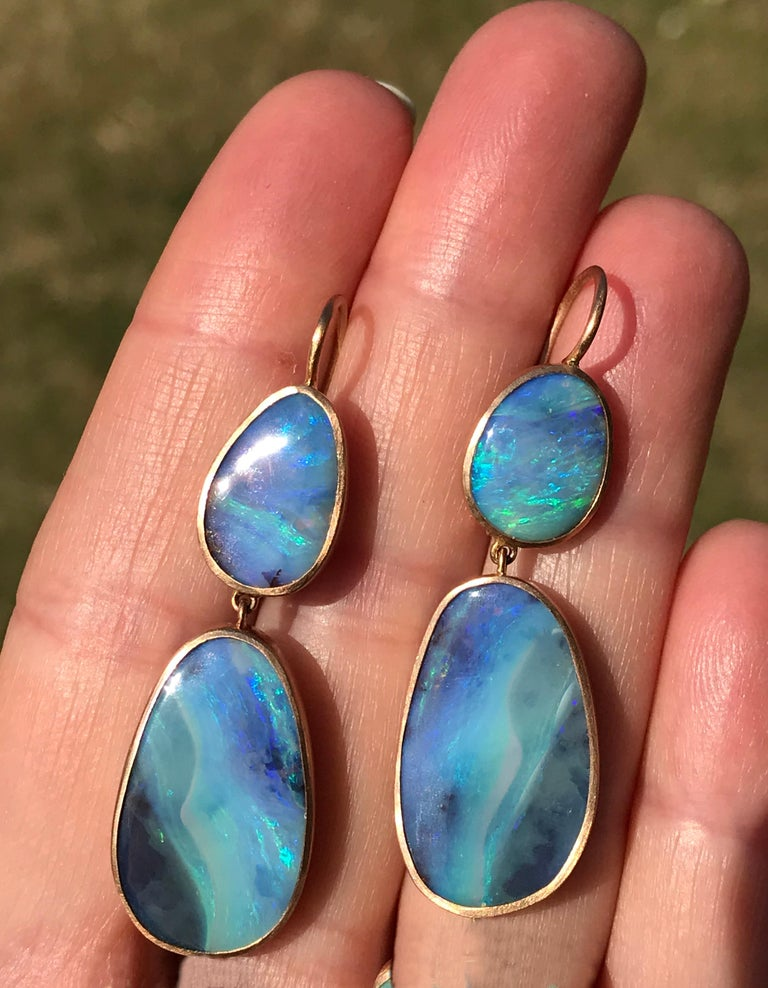 Contemporary Dalben Australian Boulder Opal Rose Gold Earrings For Sale