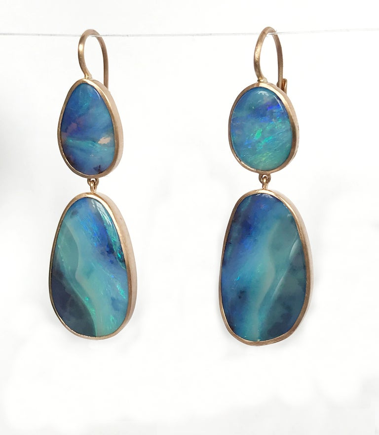 Dalben Australian Boulder Opal Rose Gold Earrings For Sale 1