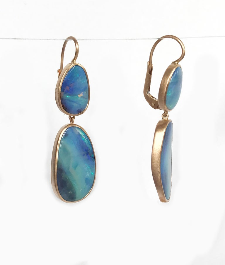 Dalben Australian Boulder Opal Rose Gold Earrings For Sale 2