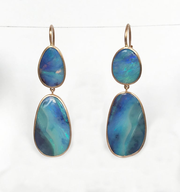 Dalben Australian Boulder Opal Rose Gold Earrings For Sale 3