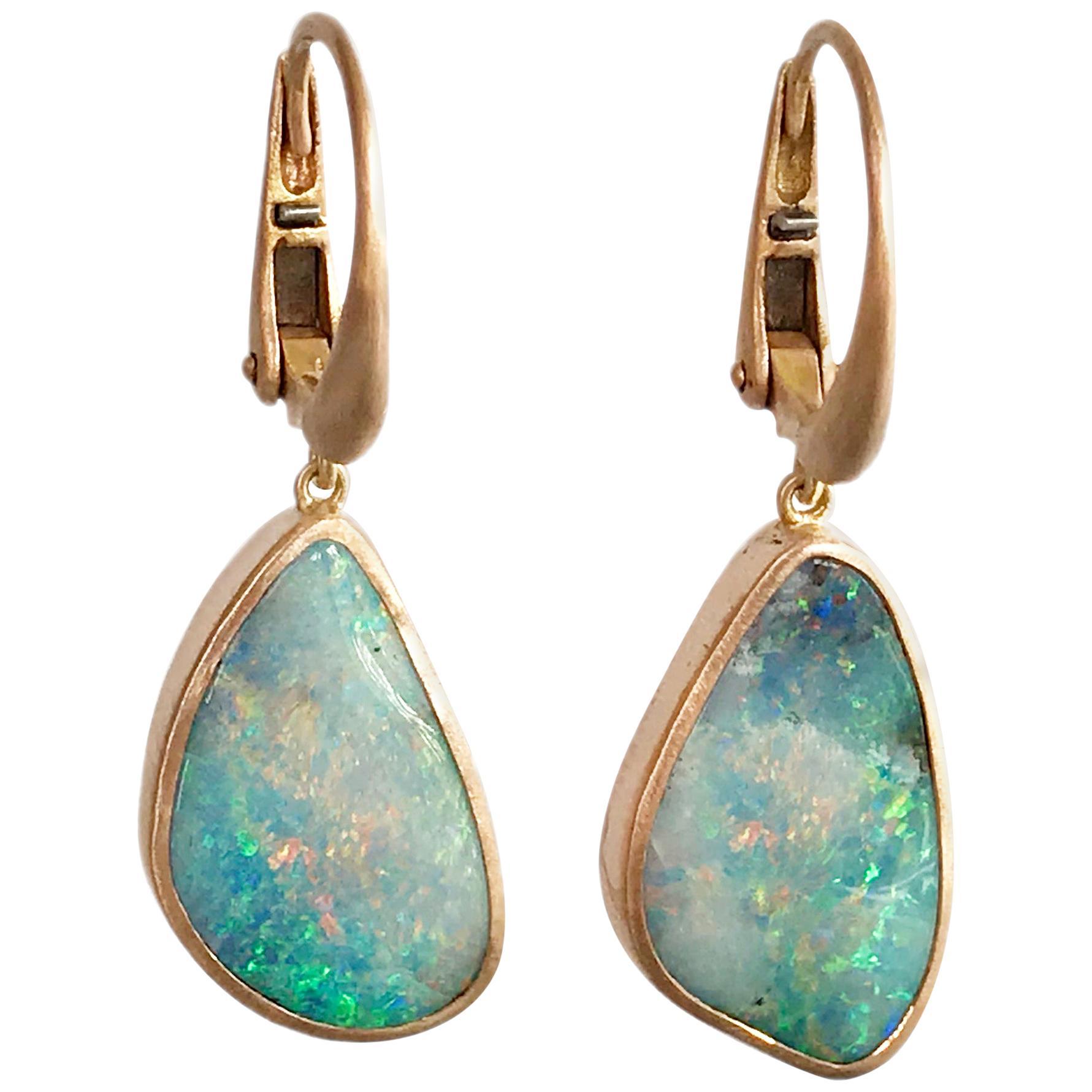 Dalben Australian Boulder Opal Rose Gold Earrings
