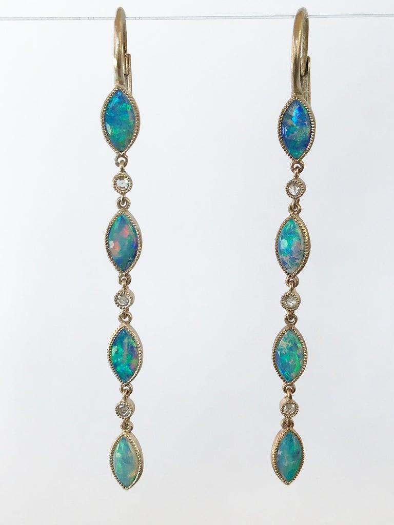 Dalben Australian Opal Diamond Gold Drop Earrings For Sale 5
