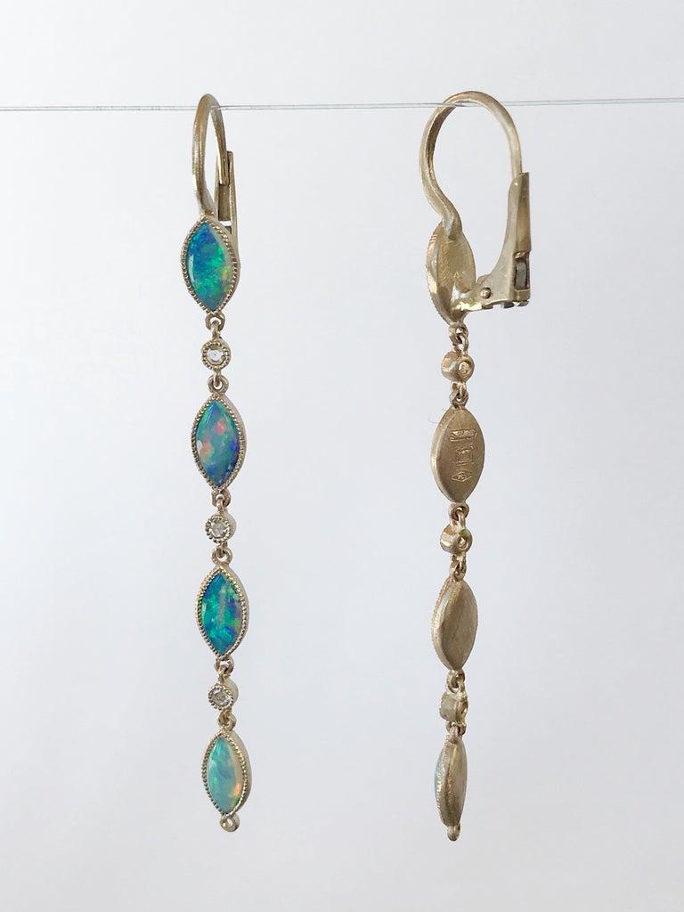 Dalben Australian Opal Diamond Gold Drop Earrings For Sale 6