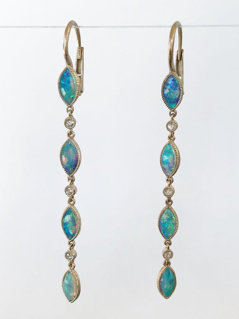 Dalben Australian Opal Diamond Gold Drop Earrings For Sale 7
